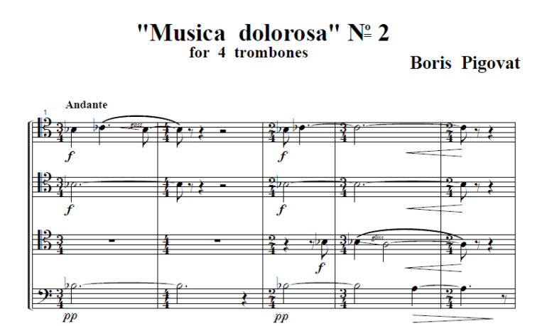 Musica Dolorosa No. 2 For Trombone Quartet (1988)