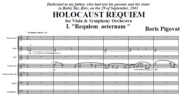 Holocaust Requiem for Viola and Symphony Orchestra (1994-1995)