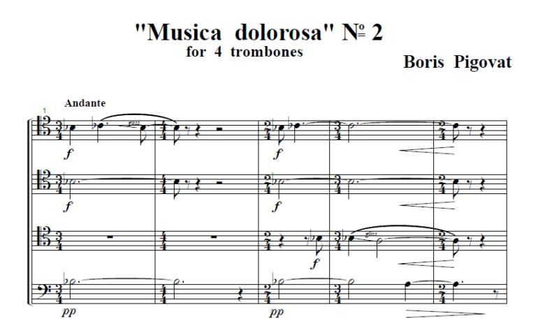Musica Dolorosa No. 2 For Trombone Quartet (1988)